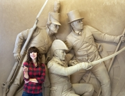 Joanna with Barney monument