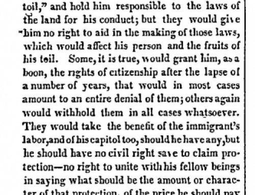 Radical Error of the Anti-immigration Position Baltimore Sun 1843