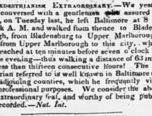 Pedestrianism Extraordinary Baltimore to Washington on foot in13 hours in 1843